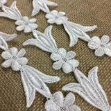 "Trim Lace Venise Daisy Tulip Angel Dance, Double Border, Cut or use as yardage, 1.75"" Wide, White, Multi-Use Garments Tops Bridal Belt Sash Waistband DIY Sewing Crafts Costumes Scrapbooks"