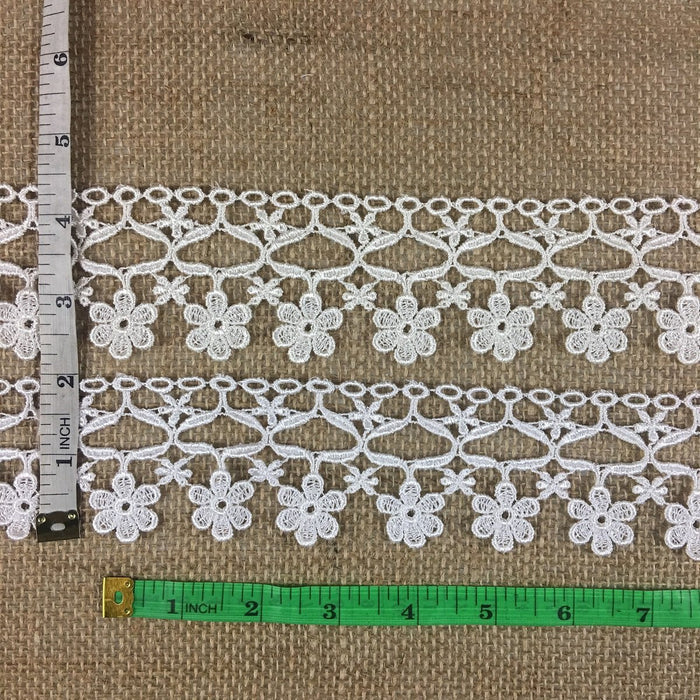 "Trim Lace Daisy Dance Design Venise, 2"" Wide, Choose Color. Multi Use Garments Tops Decorations Crafts Costumes Veils Slip Extender Scrapbooks"