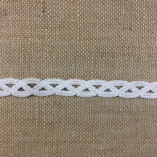 "Trim Lace Geometric Weave Wave Design Venise, 0.75"" Wide, White, Multi Use Garments Uniforms Table Runner Tops Decorations Crafts Costumes Veils"