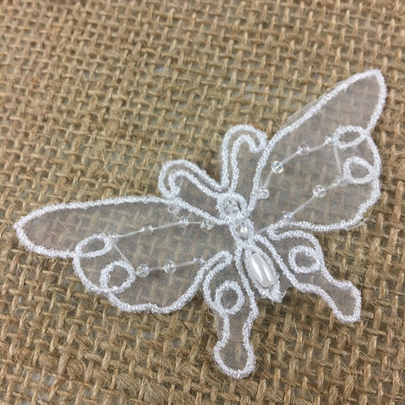 Butterfly Applique Embroidered Hand Beaded on Organza, 1.5x3