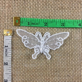 "Butterfly Applique Embroidered Hand Beaded on Organza, 1.5x3"", White, Multi Use Garments Tops Decoration Craft Costume Veil Scrapbook Invitations"