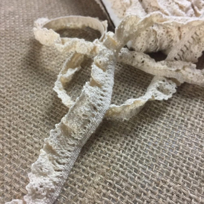 "Stretch Trim Lace Cluny 1/2"" Wide Ivory. Vintage Natural Cotton Antique Narrow, Multi-Use ex: Garments Decorations Crafts Skirt Costumes."