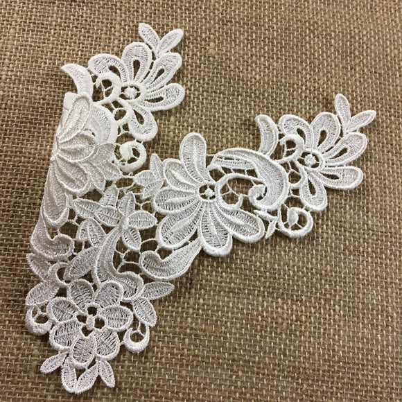 Lace Applique Piece Floral Motif Embroidery Venise Patch Neckpiece, 10