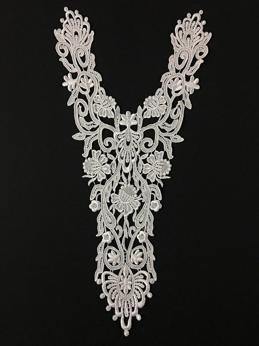"Lace Applique Super Yoke Piece Embroidery Venise, 20""x11"", Choose Color. Multi-Use ex. Garments Bridal Tops Costumes, Use Whole or Cut Pieces. Dye-able Rayon"