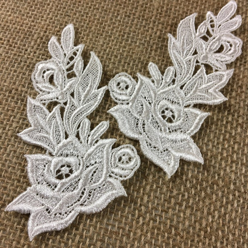 "Lace Applique Pair Venise Flame Flower Design Embroidered, 4"" long, Choose Color. Multi-use Garments Tops Costumes Crafts DIY Sewing Scrapbooks"