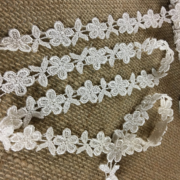 "Lace Trim Venise Rose Design Embroidered, 0.6"" Wide, Choose Color. Multi-use Garments Tops Costumes Crafts DIY Sewing Scrapbooks"