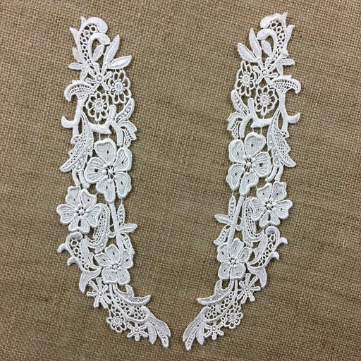 "Lace Applique Pair Venise Full Floral Design Embroidered, 12"" long, Ivory, Multi-use ex. Garments Bridals Tops Crafts DIY Sewing Scrapbooks"