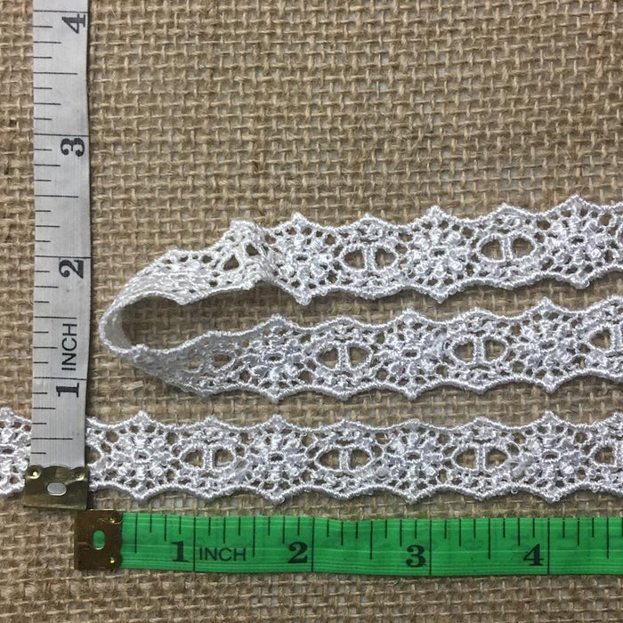 "Slots Trim Lace  3/4"" Wide Cute Double Border Venise with Slots for Ribbon. Choose Color. Multi-Use Ex: Garments Bridals Crafts Costumes."