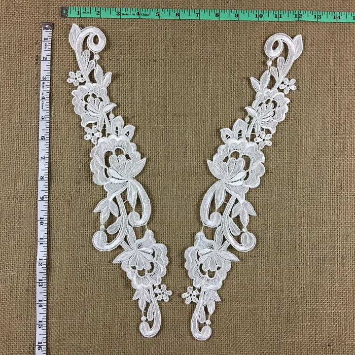 "Lace Applique Pair Venise Beautiful Floral Design Embroidered, 15"" long, Choose Color, Multi-use ex. Garments Bridals Tops Crafts DIY Sewing Scrapbooks"
