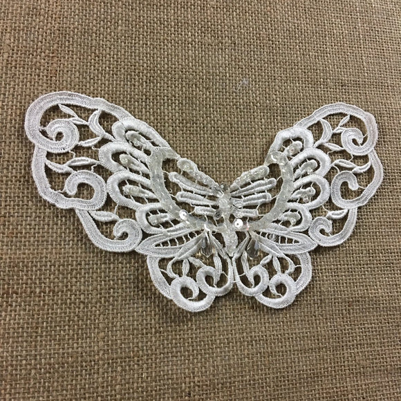 Applique Butterfly Beaded Piece Lace Embroidery Venise Yoke, 5.5