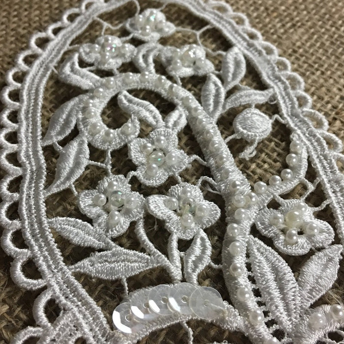 "Beaded Butterfly Applique Lace Piece Embroidery Venise Yoke, 5.5""x10"", Choose Color. Multi-Use Garments Bridal Tops Costumes Crafts DIY Sewing"