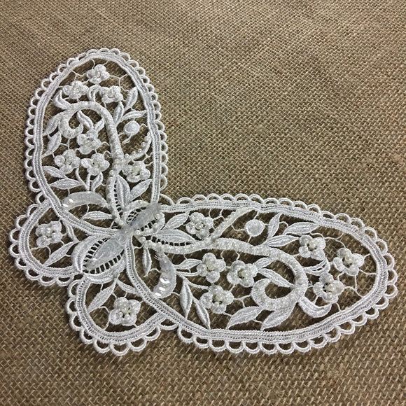 Beaded Butterfly Applique Lace Piece Embroidery Venise Yoke, 5.5