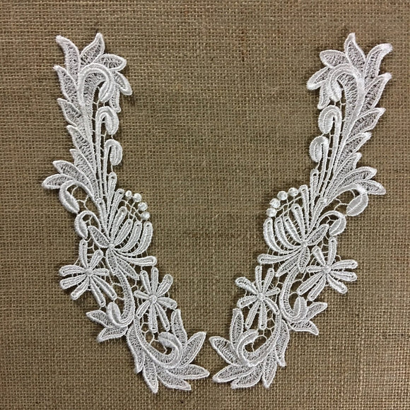 Lace Applique Pair Venise Floral Fireworks Design Embroidered, 10