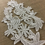 "Lace Applique Pair Venise Floral Fireworks Design Embroidered, 10"" long, Choose Color. Multi-use Garments Tops Costumes Crafts DIY Sewing Decorations"