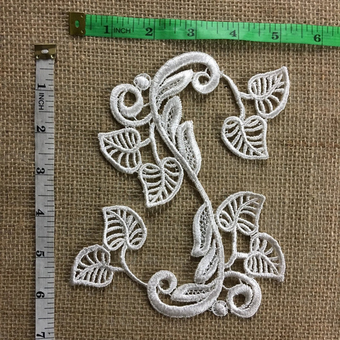 "Applique Lace Piece Embroidery Modern Art Motif Flexible Design, 5""x6"", Bend to Many Shapes Creative, Ivory and Dye-able, Multi-Use Garments Tops Costumes Bridal Crafts"