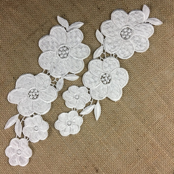 Applique Pair Lace Venise Thick Quality Water Lily Floral Embroidery Collar Pair. 10