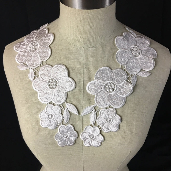 "Applique Pair Lace Venise Thick Quality Water Lily Floral Embroidery Collar Pair. 10"" Long. Use Whole or Cut into Parts. Choose Color. Many Uses: Garments Costumes DIY Sewing Crafts."