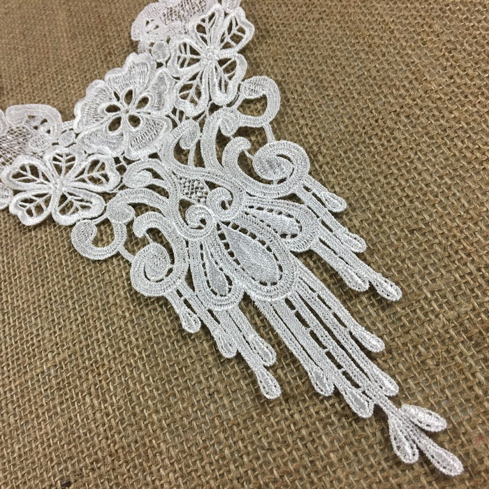 "Lace Applique Floral Piece Embroidery Venise Yoke Neckpiece, 12""x10"", Choose Color. Multi-Use Garments Bridal Tops Costumes Crafts DIY Sewing"