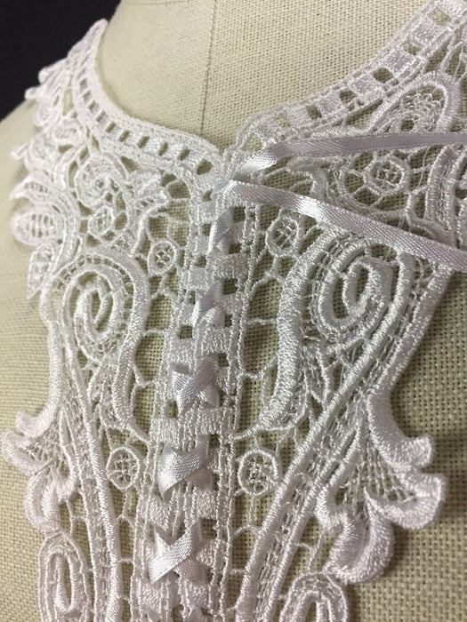 "Applique Lace Pair Beautiful Versatile Sexy Corset Venise with Ribbon Lacing, 11.5""x8"", Choose Color. Many Uses, ex: Garments Bridal Costume DIY Sewing Arts Crafts."