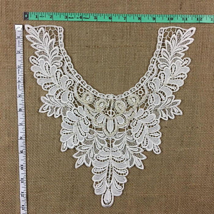 "Beaded Applique Lace Piece Beautiful Hand Beaded Venise Embroidery Neckpiece Yoke. 13""x11"" Choose Color. Many Uses ex: Bridal, Costume, DIY Sewing Crafts."
