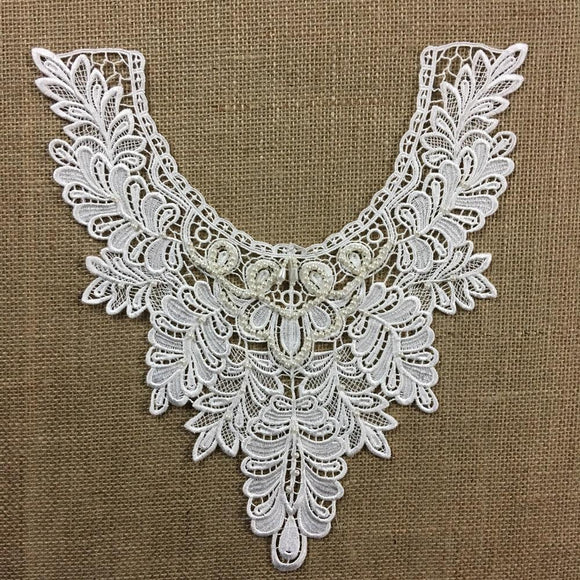 Beaded Applique Lace Piece Beautiful Hand Beaded Venise Embroidery Neckpiece Yoke. 13
