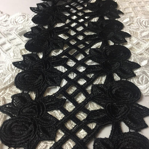 "Lace Trim Rose Garden Double Border Symmetrical Venise 5.5"" Wide Choose Color. Multi-Use ex: Bridal Belt Sash Waistband Albums Decoration Crafts Veils Costumes."