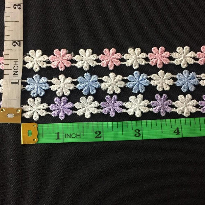 "2-Color Lace Trim 1/2"" Wide Alternating Color Daisy Flowers Venise, Choose Color White with Pink Blue or Lavender. Many Uses Garments Decoration Crafts Sash Waistband Headband"