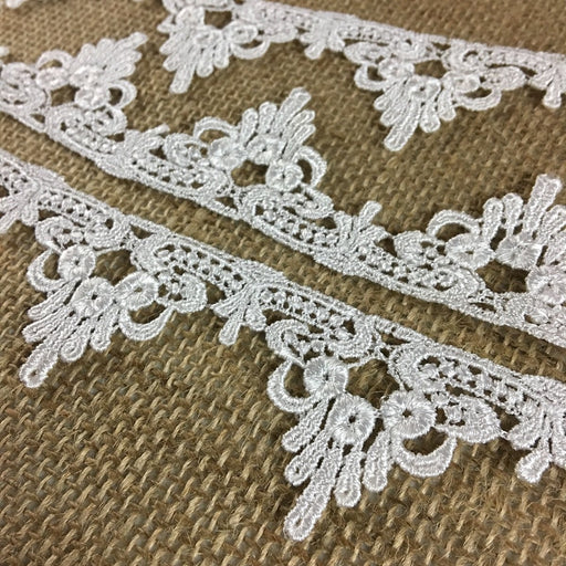 "Lace Trim Royal Design Venise, 1.5"" Wide, White, Multi-Use Garments Tops Decorations Crafts Costumes Veils DIY Sewing Scrapbooks"
