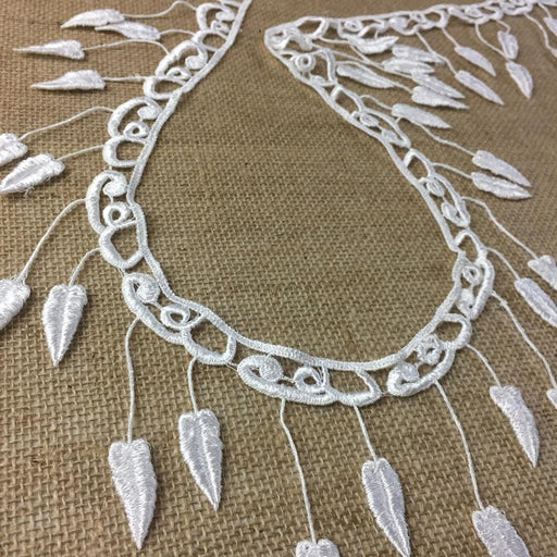 "Fringe Lace Trim Elegant 4"" Wide Hanging Leaf Pattern Venise. Choose Color. Many Uses ex: Garments Bridal Decorations Crafts Veils Costumes"