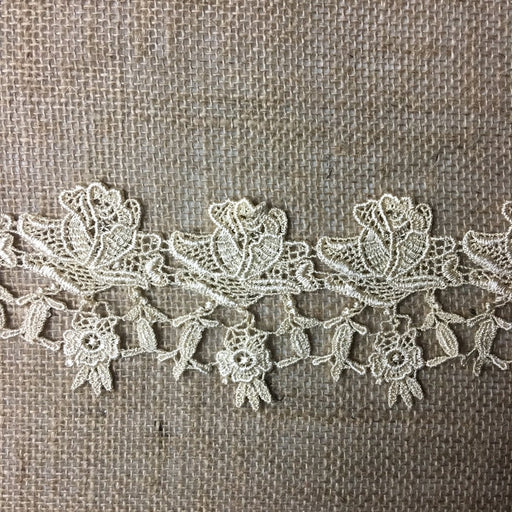 "Lace Trim Rose Flower Elegant Venise 3"" Wide Choose Color. Multi-Use ex: Garments Bridal Decorations Table Runner Crafts Veils Tops Dance Theater Costumes."