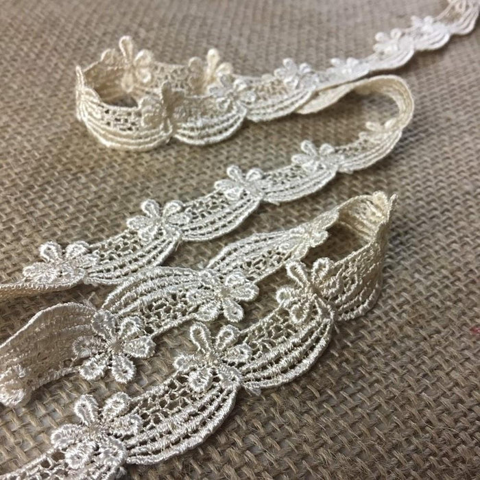 "Lace Trim Scallops daisy Drapes Venise 3/4"" Wide Choose Color. Many Uses ie: Garments Decorations Crafts Veils Tops Dance Theater Costumes."