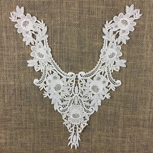 "Applique Lace Piece Embroidery Venise Yoke Neckpiece Rose Garden Design, 14""x11"", Choose Color, Multi-use Garments Tops Bridal Costumes Arts Crafts DIY Sewing"