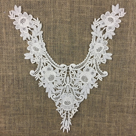 Applique Lace Piece Embroidery Venise Yoke Neckpiece Rose Garden Design, 14