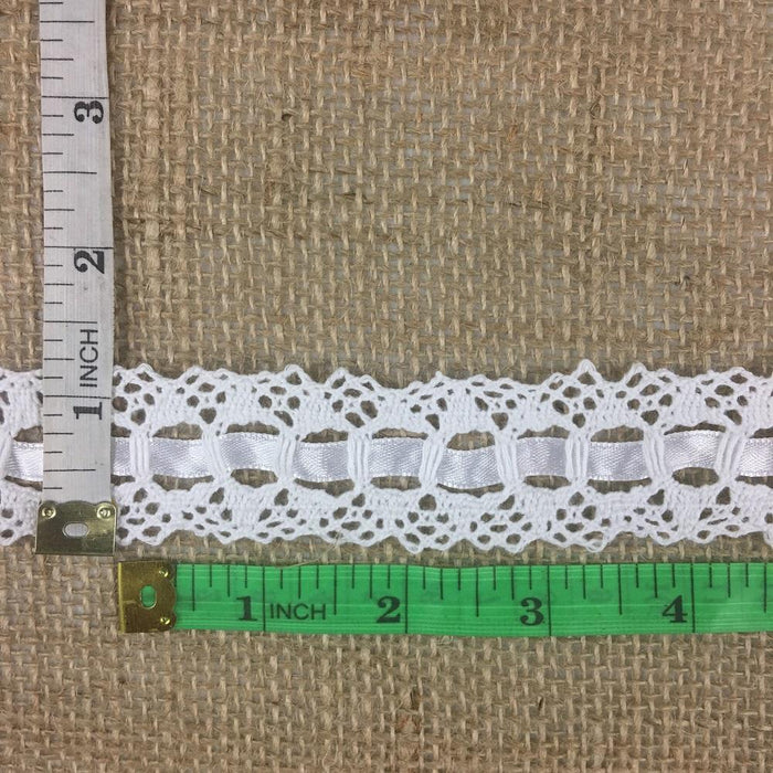 "Cluny Trim Lace Satin Ribbon, White 1.25"" 100% Cotton Cluny Lace with Satin Ribbon Threaded Through the Lace Slots. Multi-Use ex: Garments Crafts Costumes."