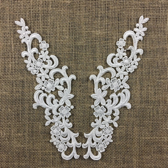 Lace Applique Pair Venise Elegant Curls Design Embroidered, 10