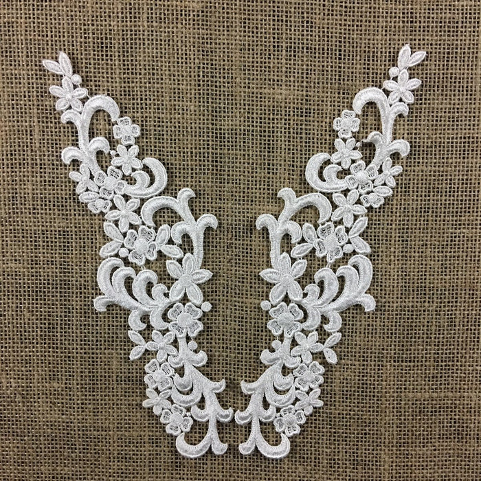 "Lace Applique Pair Venise Elegant Curls Design Embroidered, 10"" long, Ivory. Multi-use ex. Garments Bridals Tops Crafts DIY Sewing Scrapbooks"