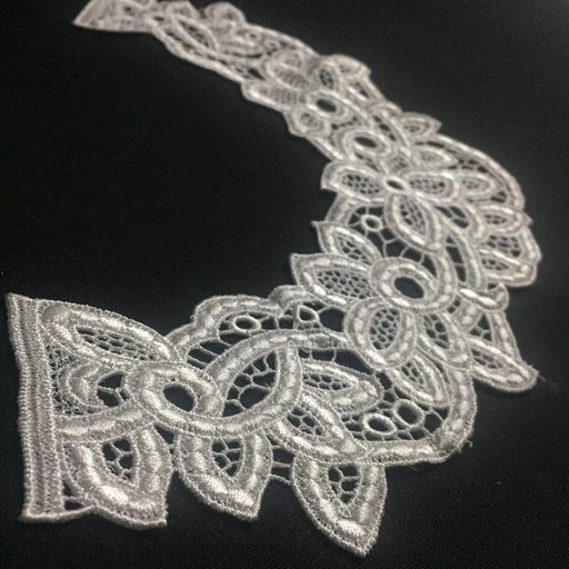 "Lace Applique Neckpiece Yoke Embroidery Collar Motif, 9""x14"", White. Multi-Use ex: Garments Tops Wedding Costume DIY Sewing Arts and Crafts"
