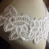 "Lace Applique Neckpiece Yoke Embroidery Collar Motif, 8""x14"", White. Multi-Use ex: Garments Tops Wedding Costume DIY Sewing Arts and Crafts"