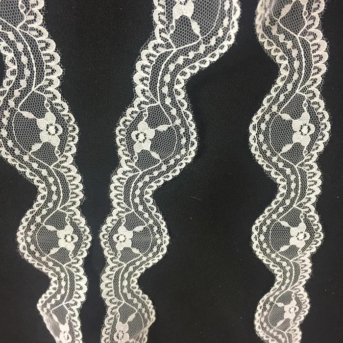 "Raschel Trim Lace Wave White 1.5"" Wide, Many Uses ex: Garments Edging Dolls Bridal Decorations Arts Crafts Veils Tops Costumes Scrapbooks"