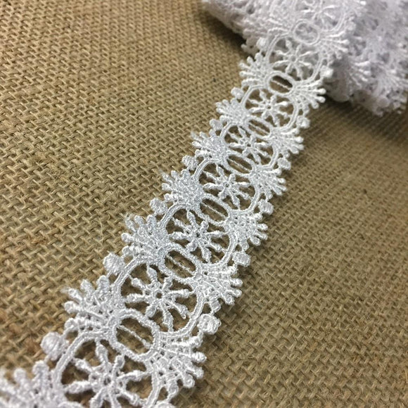 Trim Lace White Double Border Symmetrical, Slots to Pass Ribbon Thru. 1.5