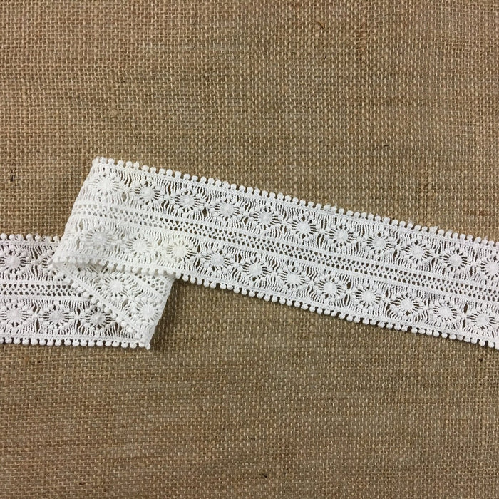 "Trim Lace Cotton Double Border Symmetrical, 2.5"" Wide, Off White, Multi-Use Garment Sash Waistband slip Extender Decoration Costume Craft DIY Sewing"