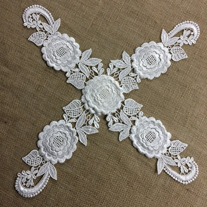 "Applique Pair Lace Venise Quality Rayon Floral Embroidery 19"" Long, Use Whole or Cut into Parts, Off White, Many Uses: Garments Costumes DIY Sewing Crafts"
