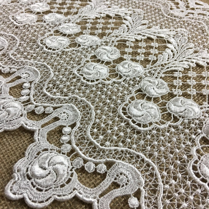 "Wide Trim Lace Venise, 15"" Wide, Ivory, Heavy Soft Drapy, Multi-Use Garments Tops Bridal Veil Table Runner Decorations Crafts Costumes DIY Sewing Backdrop"
