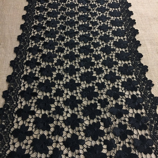 "Wide Trim Lace Venise, 16"" Wide, Black, Double Border Symmetrical, Multi-Use Garments Tops Bridal Veil Table Runner Decorations Crafts Costumes DIY Sewing"