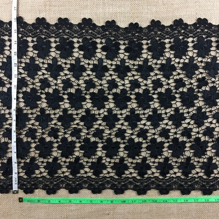 "Wide Trim Lace Venise, 16"" Wide, Black, Double Border Symmetrical, Multi-Use Garments Tops Veil Table Runner Decorations Crafts Costumes DIY Sewing"