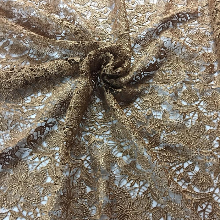 "Venise Lace Fabric Allover Fancy Floral Scalloped Borders Retro French, 49"" Wide, Choose Color. Multi-Use ex.Garments Overlay Tablecloth"