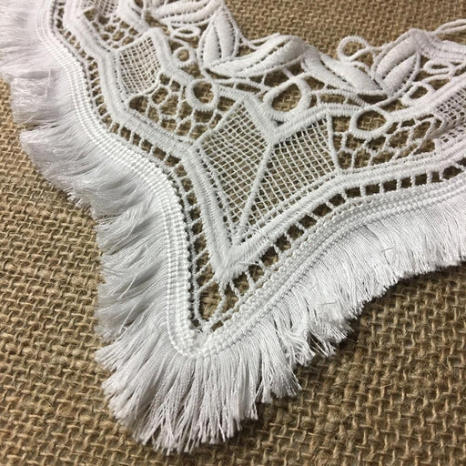 "Lace Applique Yoke Brush Fringe Embroidery Neckpiece Collar Motif, 11"" Long, Soft White. Multi-Use ex: Garments Tops Costumes DIY Sewing"