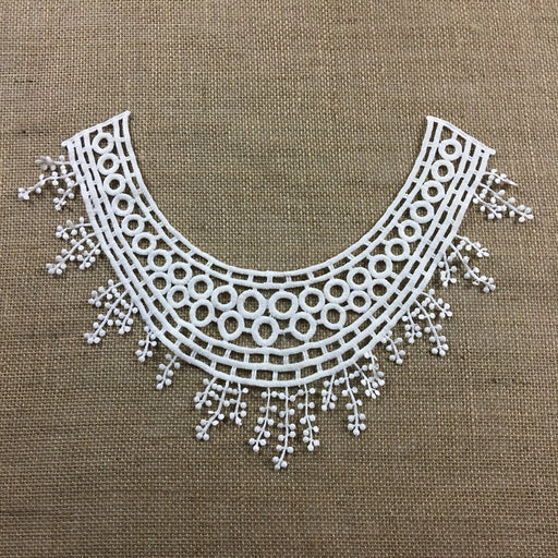 "Lace Applique Neckpiece Egyptian Design Yoke Embroidery Collar Motif, 10""x14"", Off White. Multi-Use Garments Tops Wedding Costume DIY Sewing Crafts"