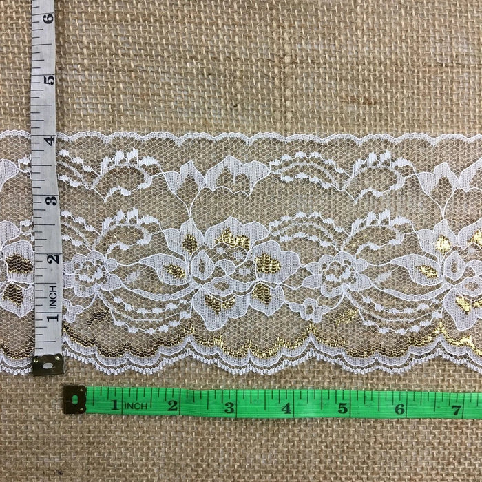 "Raschel Golden Trim Lace 4"" Wide Gold & White Floral Design Flat Lace Multiple-Use Garment Decoration Craft Veil Doll Costume Table Runner Scrapbook"