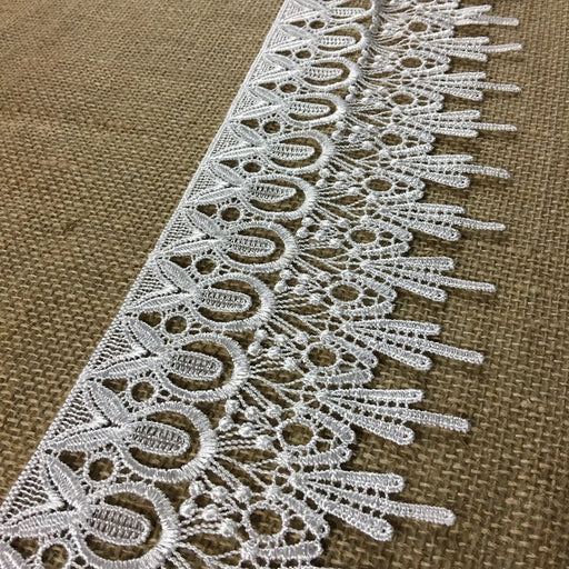 "Lace Trim Happy Pineapple Design Venise, 4.5"" Wide, White, Multi-Use Garments Bridal Decoration Slip Extender Veils Table Runner Children Ladies DIY Sewing"